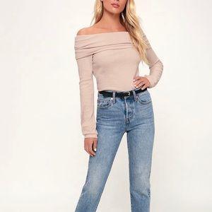 Austra Lulu's Blush Off The Shoulder Knit Sweater